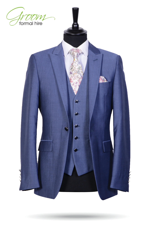 Steel Blue Slimline 3 Piece Suit – Groom Formal Hire