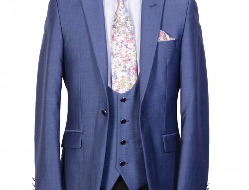 Steel Blue Slimline 3 Piece Suit